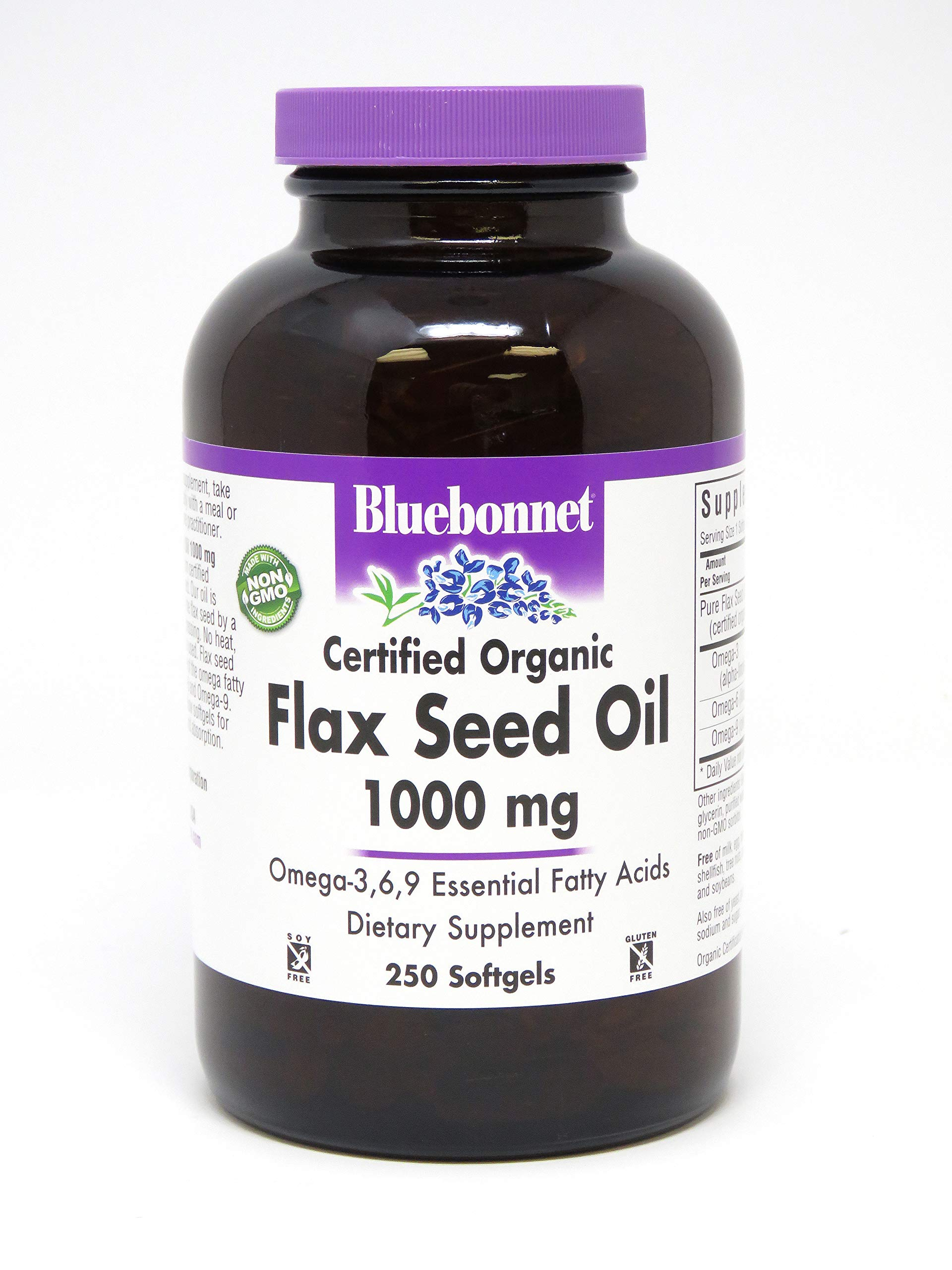 Bluebonnet Nutrition Flax Seed Oil Certified Organic 1000 mg, 250 Softgels