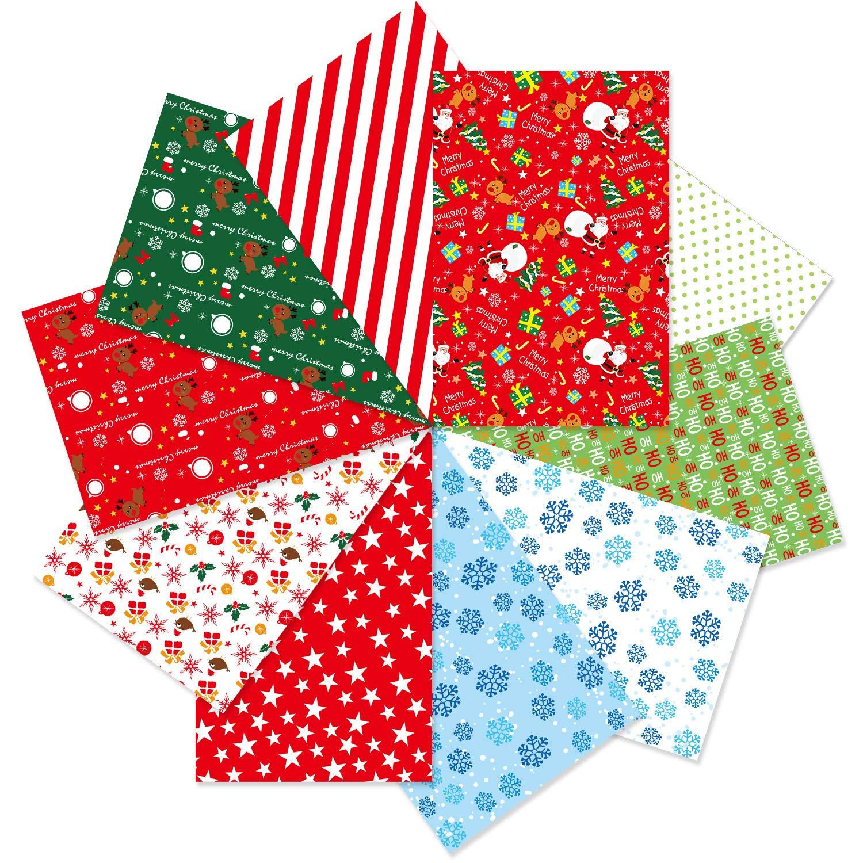 10 Designs 14 x 21cm Decorative Paper for DIY Scrapbook Card Making Decoration FEPITO 90 Sheets Christmas Pattern Paper Set