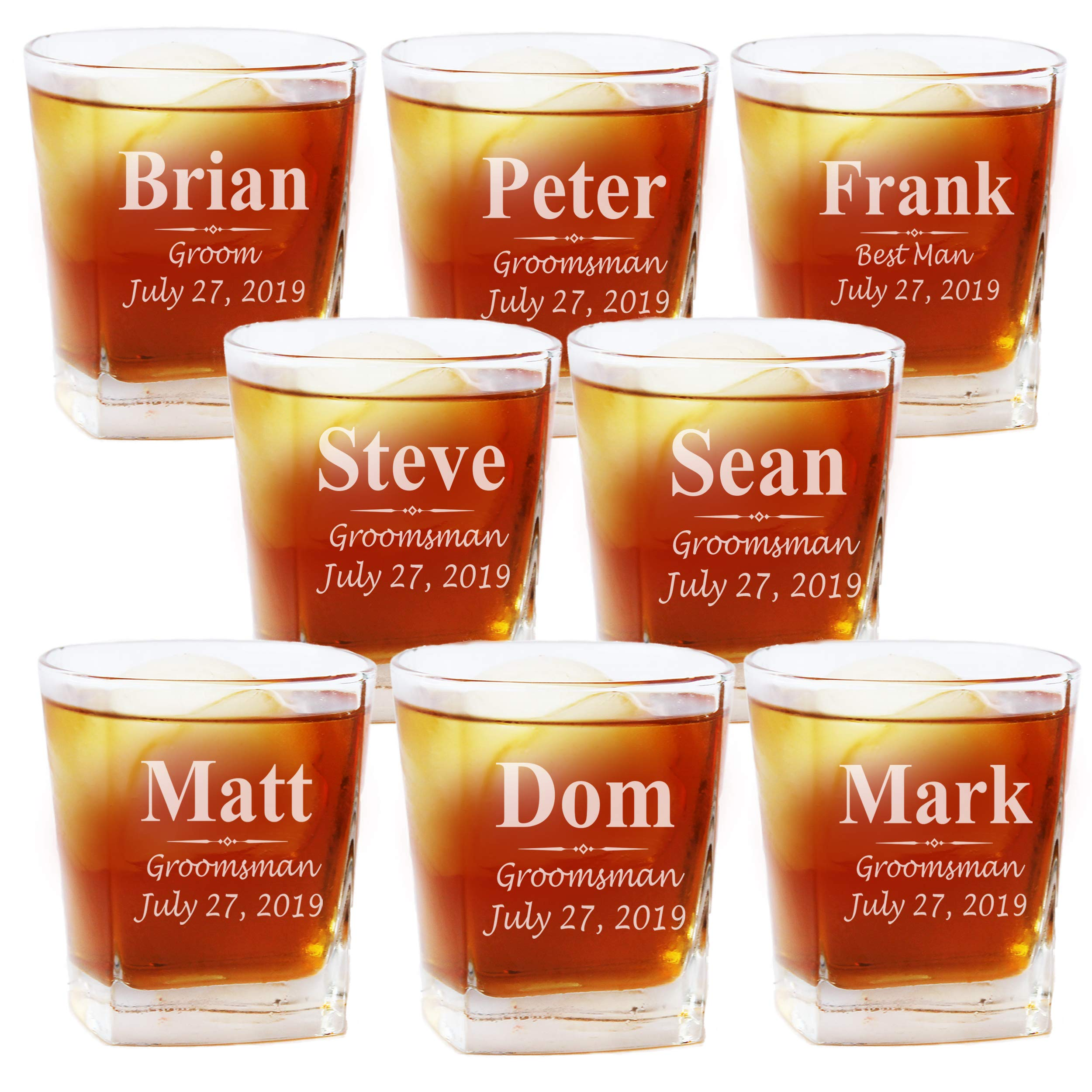 Set of 1, 4, 5 and More Custom Personalized Whiskey Rocks Glasses for Bachelor Party - Engraved Square Rocks Glass Gifts for Groom, Groomsman - 3-Lines Style (8)