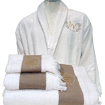 5 estrellas personalizada de alta calidad Hotel Edición Blanco Juego Albornoz, Toallas de baño - ref. Lino, 100% algodón, Blanco, X-Large: Amazon.es: Hogar