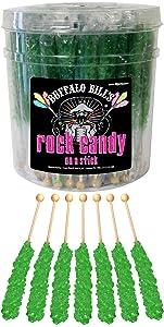 Buffalo Bills Apple (Dark Green) Rock Candy On A Stick (36-ct tub rock candy crystal sticks)