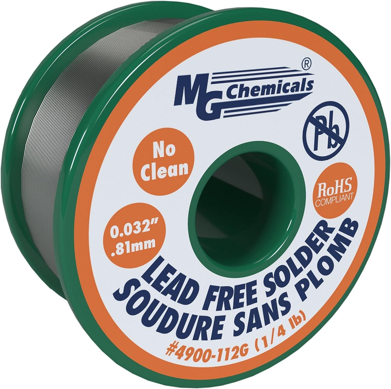 MG Chemicals Sn99, 99,3% estaño, 0,7% cobre, 3% plata, no limpio sin plomo soldadura, 0,032