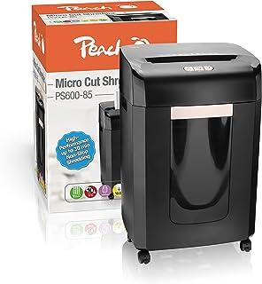 Peach PS600-95 Mikroschnitt Aktenvernichter | 18 Blatt | 30 Liter/600 DIN A4 | 2 x 15 mm Partikelgröße (P-5) | DIN A4 ca. 2100 Partikel | Dauerbetrieb 30min/über 2250 Blatt | ideal für neue DSGVO