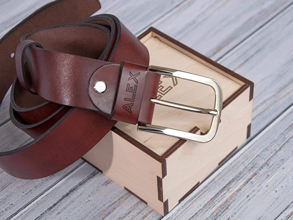 Handmade Mens or Womens Belt with Custom Engraved Inscription Personalized Leather Belt Third Anniversary Gift for Men or Women