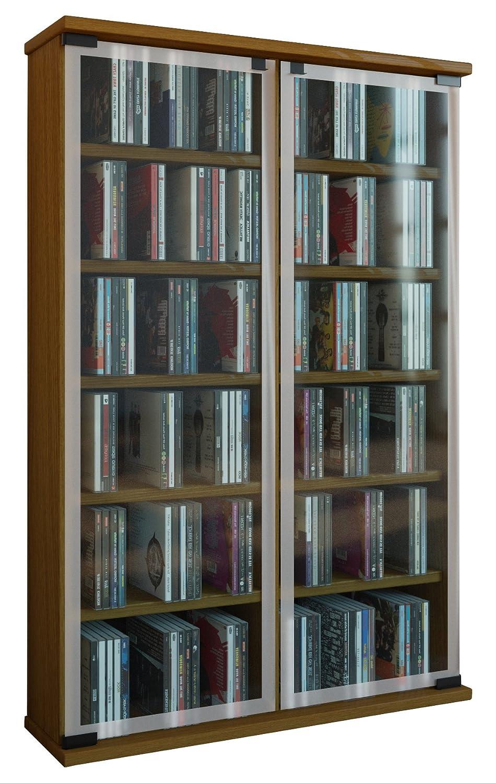 VCM 30052 Galerie Meuble CD-DVD pour 300 CDs Bois-Verre Chêne rustique 91 -5 x 60 x 18 cm