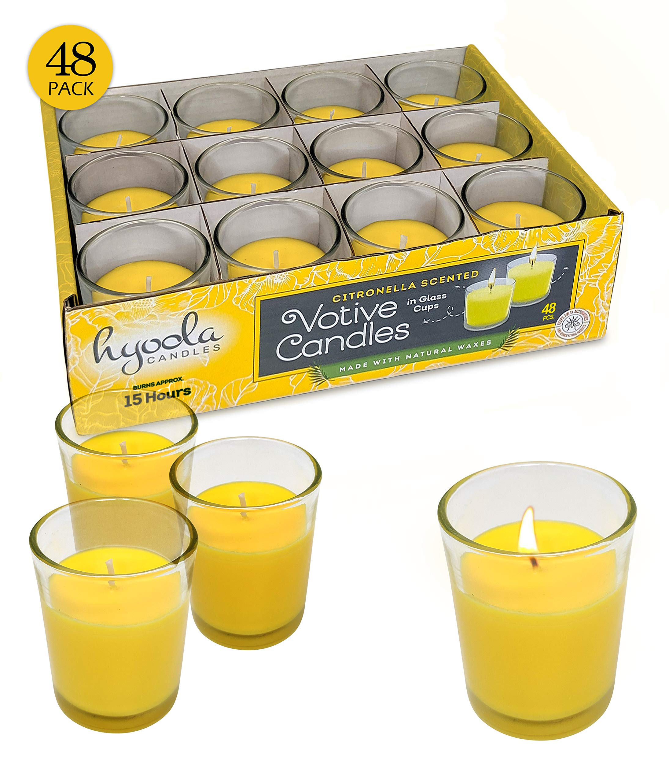 Hyoola Citronella Candle Votives in Glass Cup - 48 Pack - Indoor and Outdoor Decorative and Mosquito, Insect and Bug Repellent Candle - Natural Fresh Scent - 15 Hour Burn Time by Hyoola