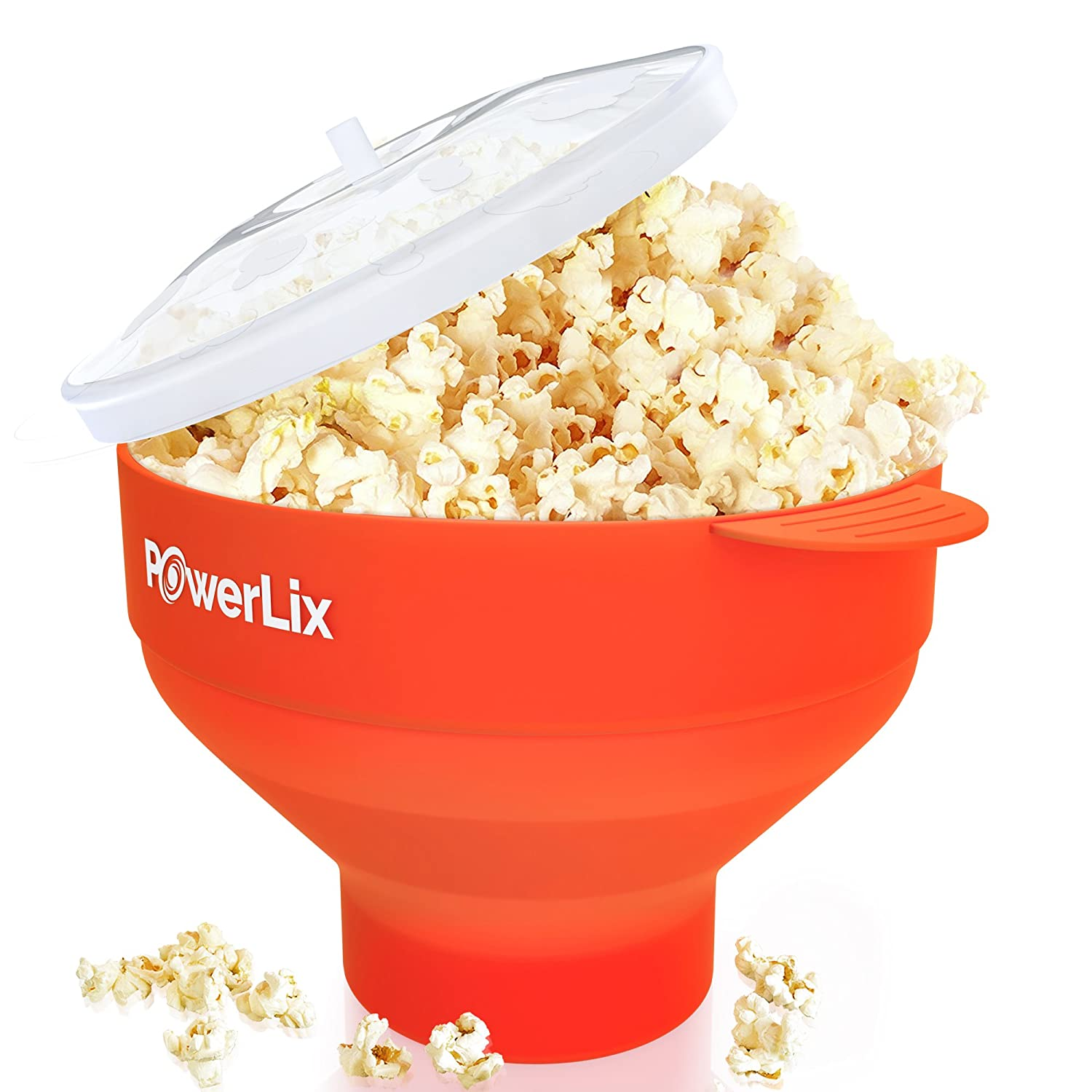 The Original PowerLix Microwave Popcorn Popper, Silicone Popcorn Maker Collapsible Bowl, BPA Free, Hot Air Popcorn Maker - Free e-Book Include (Red)