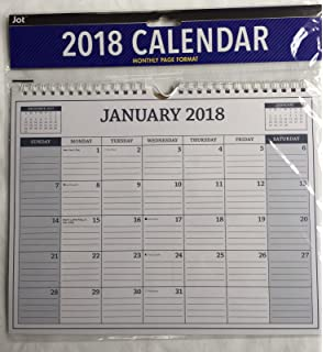 jot monthly spiral wall calendar 2018 assorted blue or brown