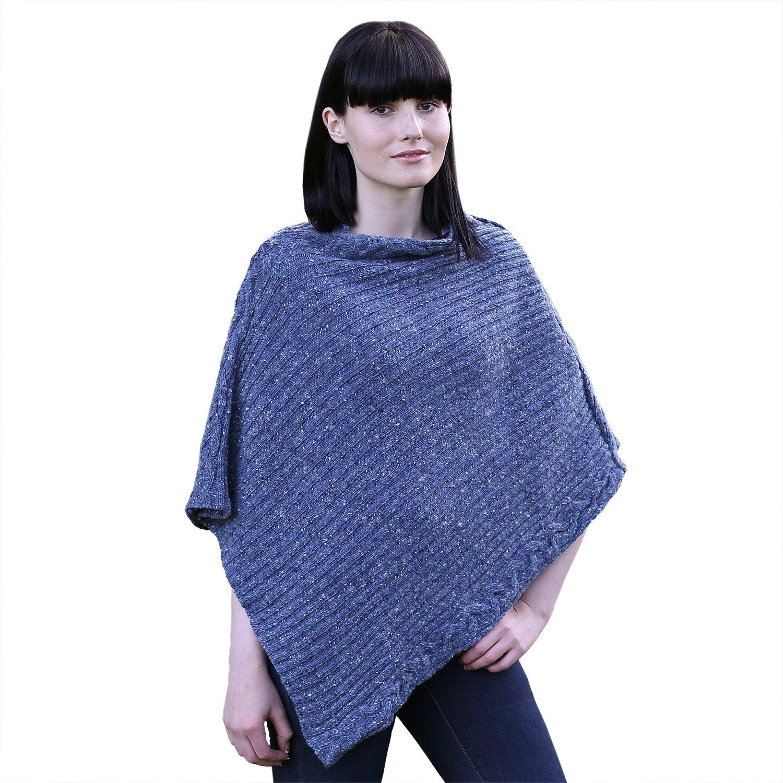 100% Irish Soft Donegal Merino Rib Cable Womens Poncho By Irelands Eye Knitwear