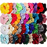 40pcs Hair Scrunchies Velvet Elastic Hair Bands Scrunchy Hair Ties Ropes 40 Pack Scrunchies for Women or Girls Hair Accessories, 40 Assorted Colors Scrunchies