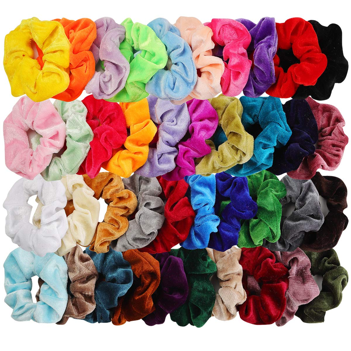 40pcs Hair Scrunchies Velvet Elastic Hair Bands Scrunchy Hair Ties Ropes 40 Pack Scrunchies for Women or Girls Hair Accessories for Thanksgiving Christmas, 40 Assorted Colors Scrunchies
