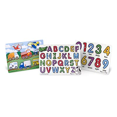 Melissa & Doug Wooden Peg Puzzles Set - Alphabet, Numbers, and Vehicles: Toys & Games