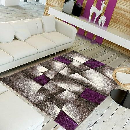 UN AMOUR DE TAPIS - Tapis moderne 1026 - Grand tapis salon brillance  ultimate - gris, noir, violet - 200 x 290 cm