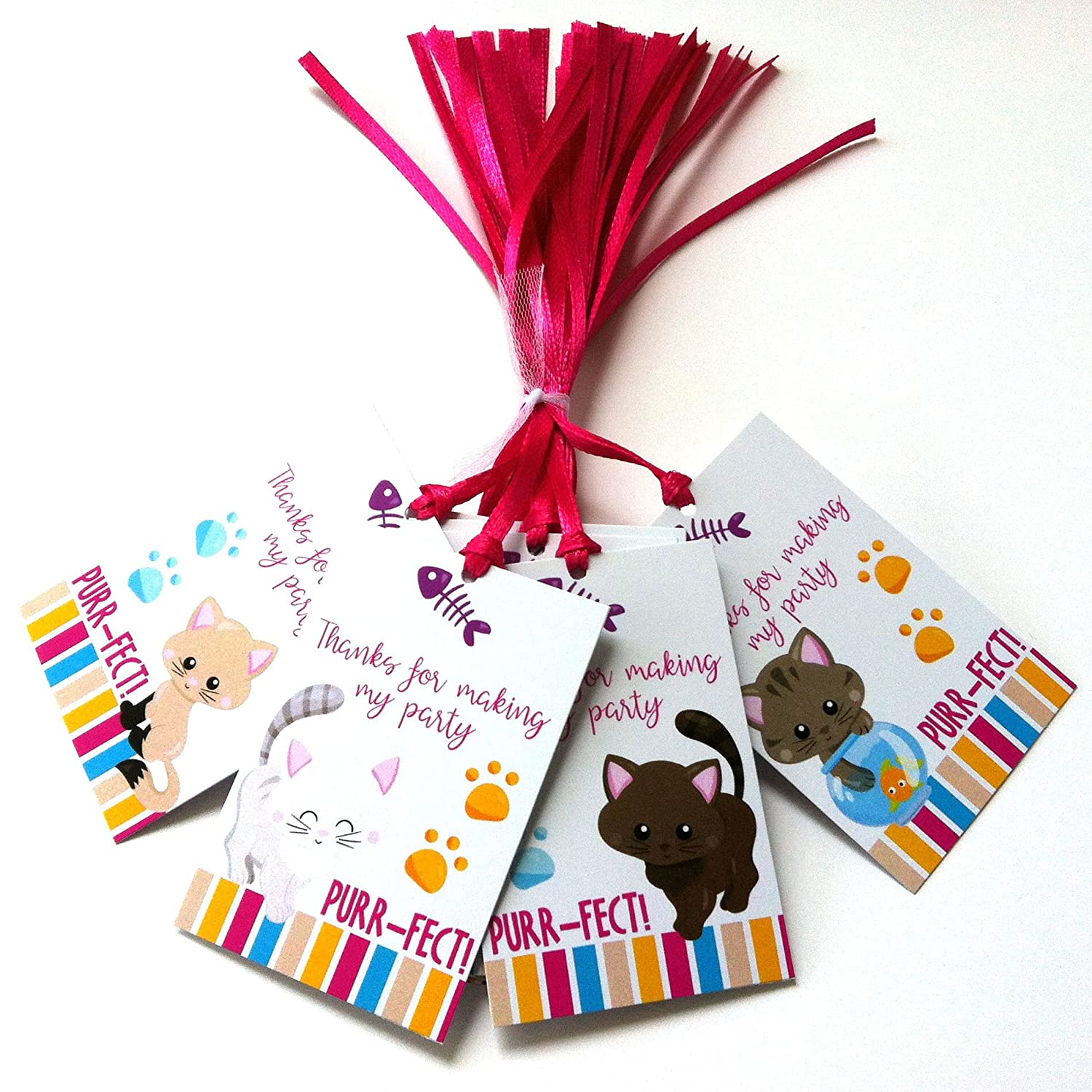 Kitty Cat Thank You Favor Tags - Girl Birthday Baby Shower Feline Pet Party Gift Tags - Set of 24