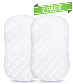 iLuvBamboo 2 Pack Waterproof Bassinet Cover to Fit Hourglass Swivel Sleeper Mattress Pad - Machine & Dryer Friendly - Secure Envelope Design - Silky ...