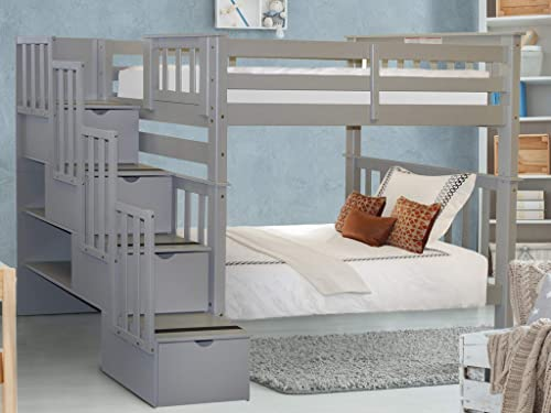 Bedz King Tall Stairway Bunk Beds Twin over Twin