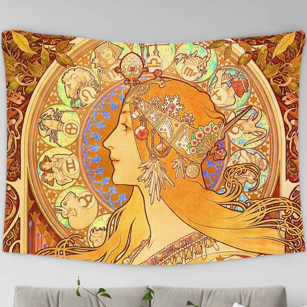 Loussiesd Mucha Tarot Tapestries, Tarot Queen Printed Wall Hanging Tapestries, Vintage Tapestry, Tablecloth,XLarge 70.9 x 92.5 Inches