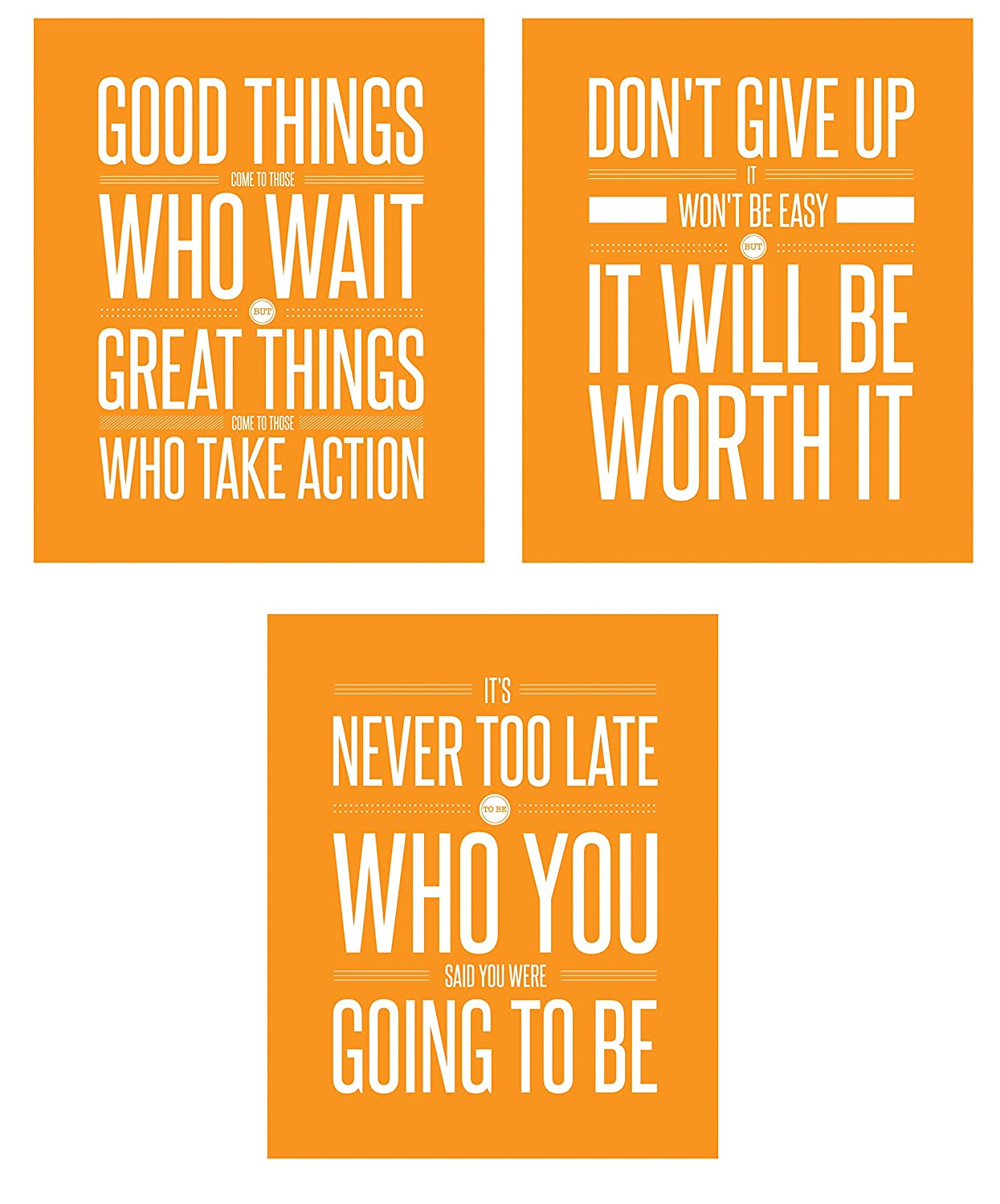Don't Give Up 3 Poster Set Motivational Inspirational Quote Wall Workout Sports Art Boy Girl Teen Fitness Wall Home Decor Office Classroom Dorm Room Gym Entrepreneur (8 x 10 Orange)