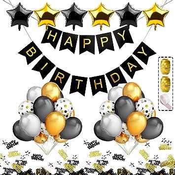 iZoeL Decoración cumpleaños Party Fiesta Oro Plata Negro ...