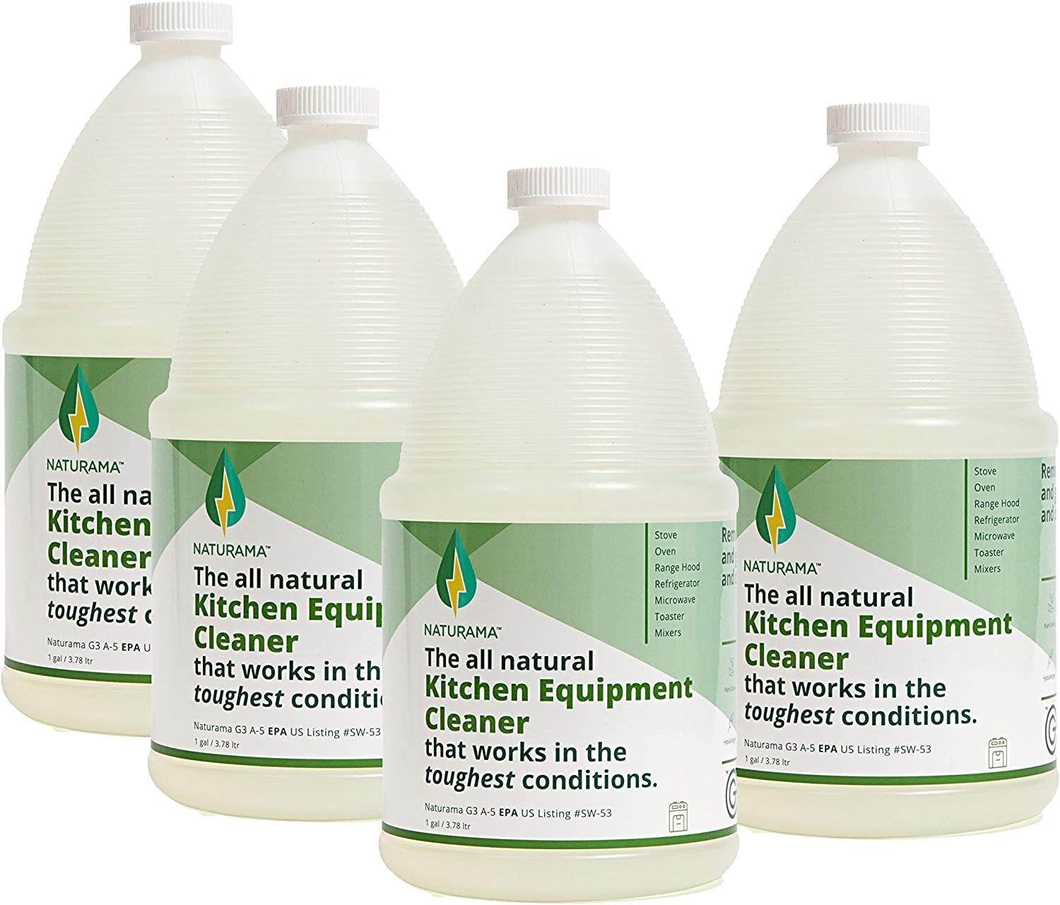 Naturama, All Natural Kitchen Equipment Cleaner, Eco-Friendly EPA Registered. Made in the U.S. (1gal 4 Pack)