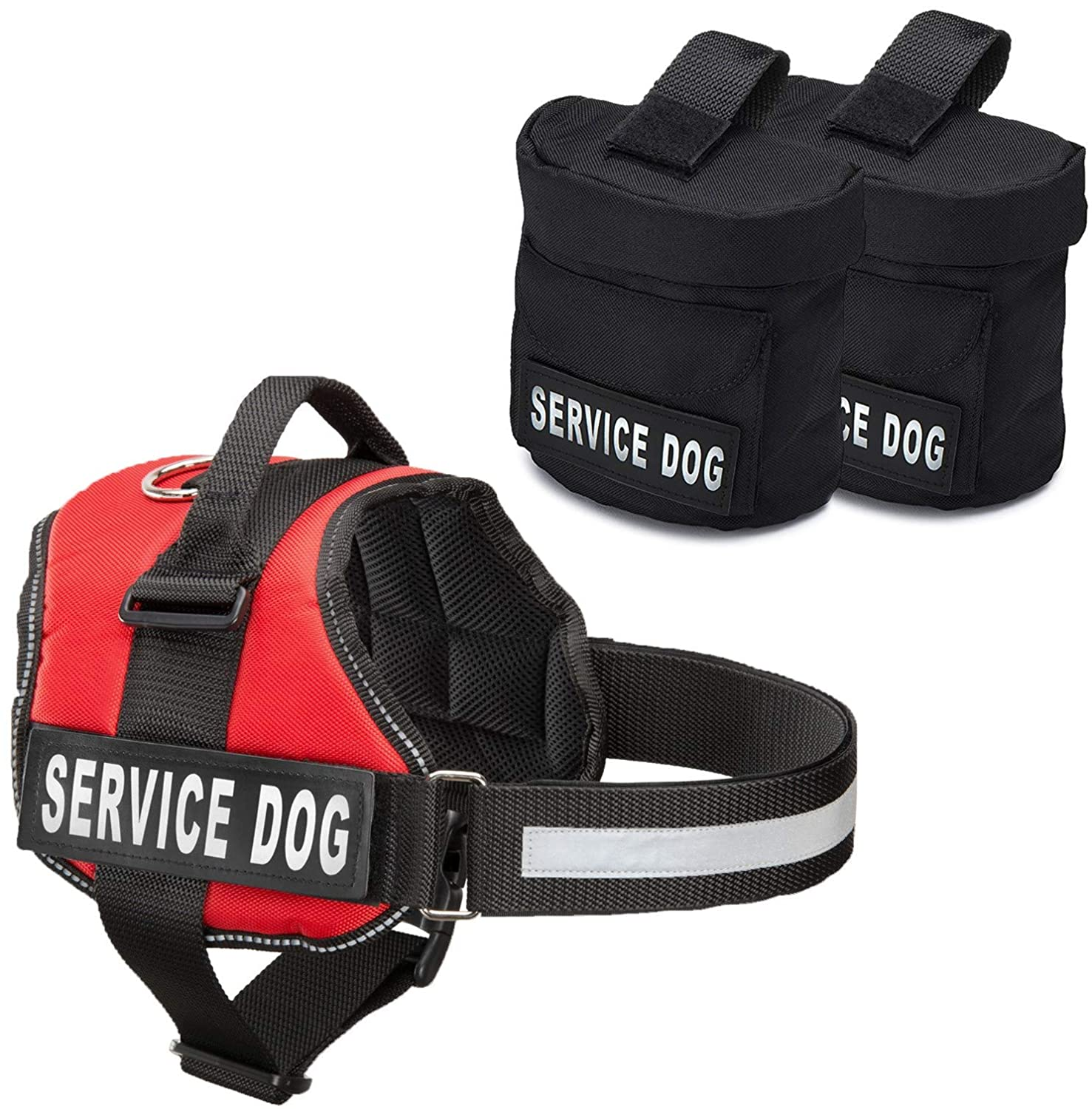 Bright Red fits girth 2733.5\Service Dog Backpack Harness w  2 Removable Saddle Bags PLUS 4  SERVICE DOG  Velcro Patches, by Industrial Puppy (Large, Bright Red)