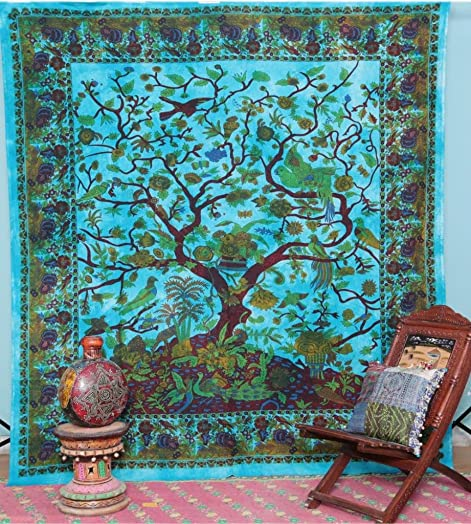 Labhanshi Tree of Life Tapestry Floral Bird Queen Bedspread