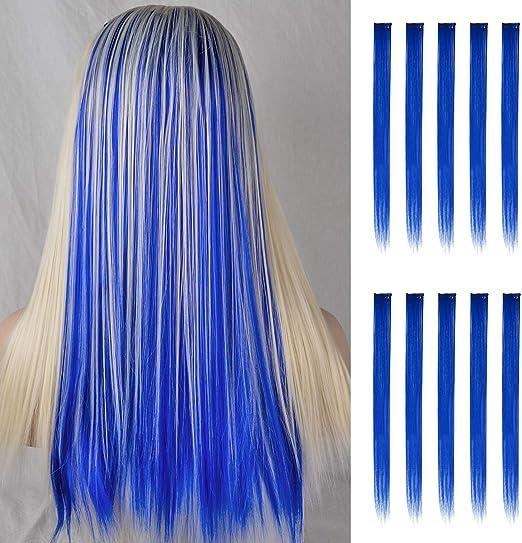 FESHFEN extensiones de cabello colores, 10Pcs de cabello Azul oscuro para niñas Party Highlight Postizos de pelo color liso y colorido Clip en ...