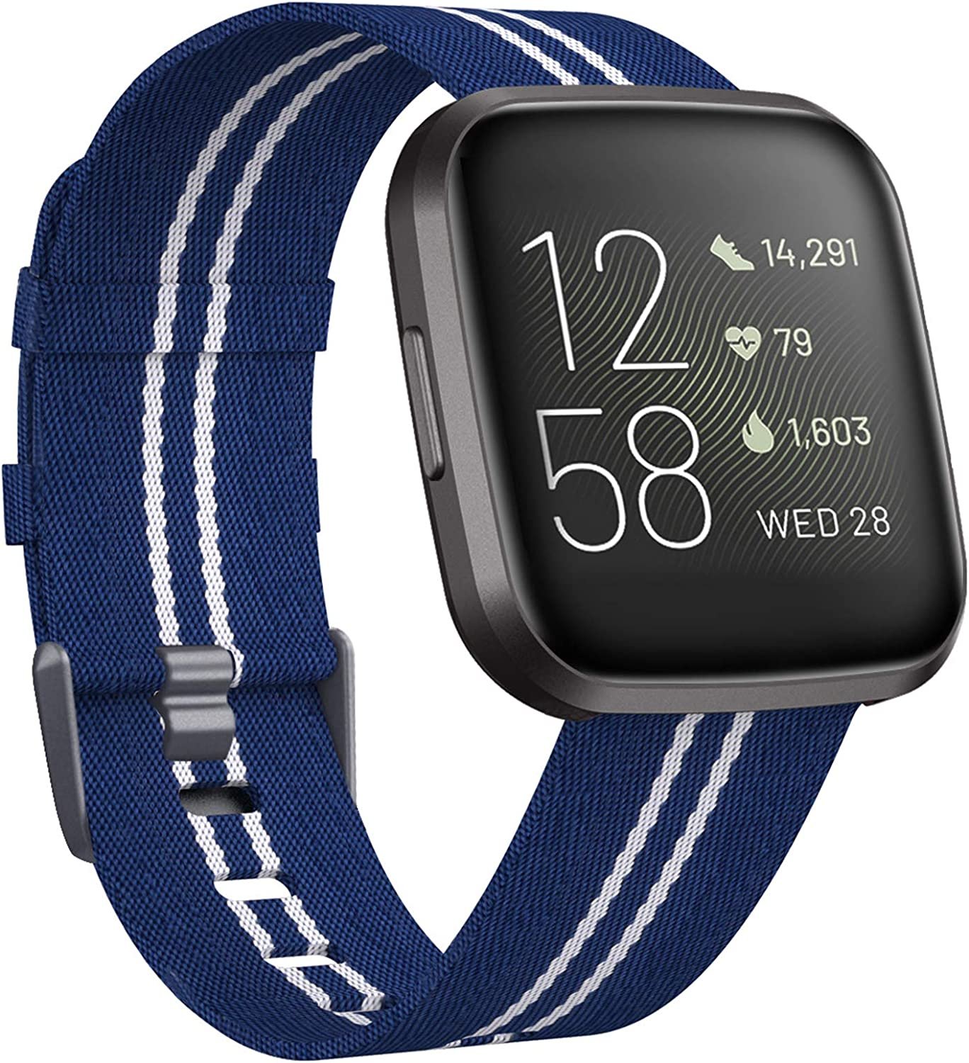 For Fitbit Versa 1 2//Lite Edition!Large//Small Woven Nylon Wrist Band Strap Loop