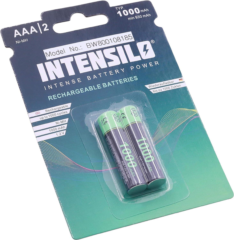 2 x pilas recargables Ni-MH 1000mAh (1.2V) marca INTENSILO para Panasonic KX-TG2512, KX-TG6512 sustituye AAA, Micro, R3, HR03.