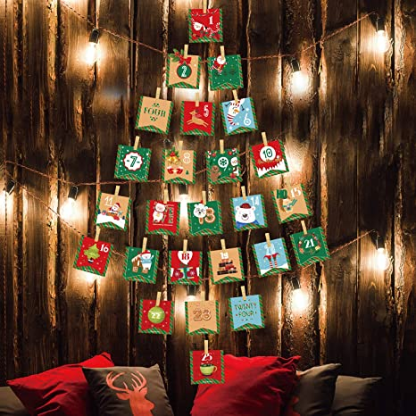 2021 Christmas Candy Countdown Calendar Amazon Com Luckkyy 2021 Advent Calendar Christmas Decorations 24 Days Hanging Advent Calendars Garland Candy Gift Bags Diy Xmas Countdown Christmas Decorations For Wall Home Office Home Kitchen