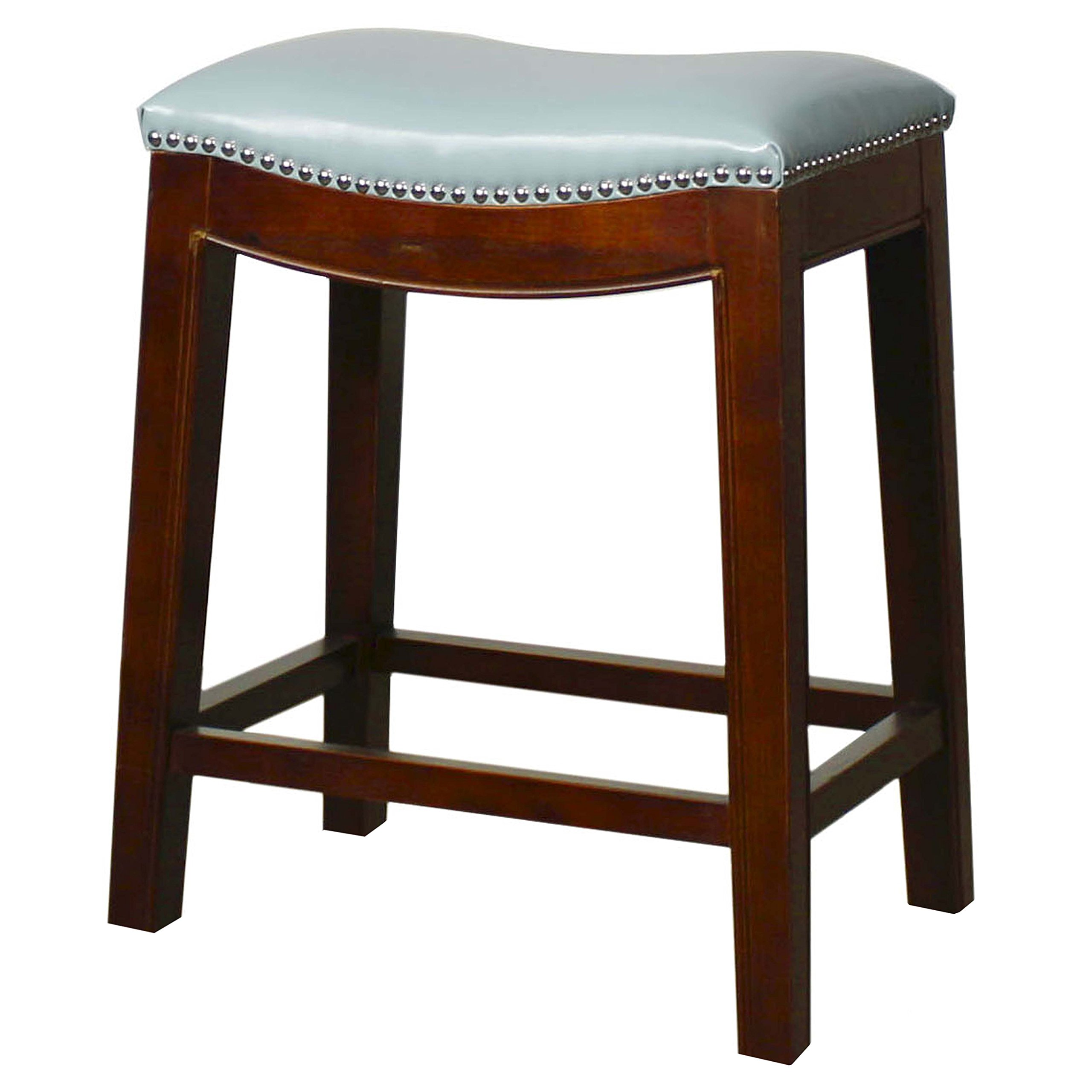 New Pacific Direct Elmo Bonded Leather Counter Stool,Cinnamon Brown Legs,Blue