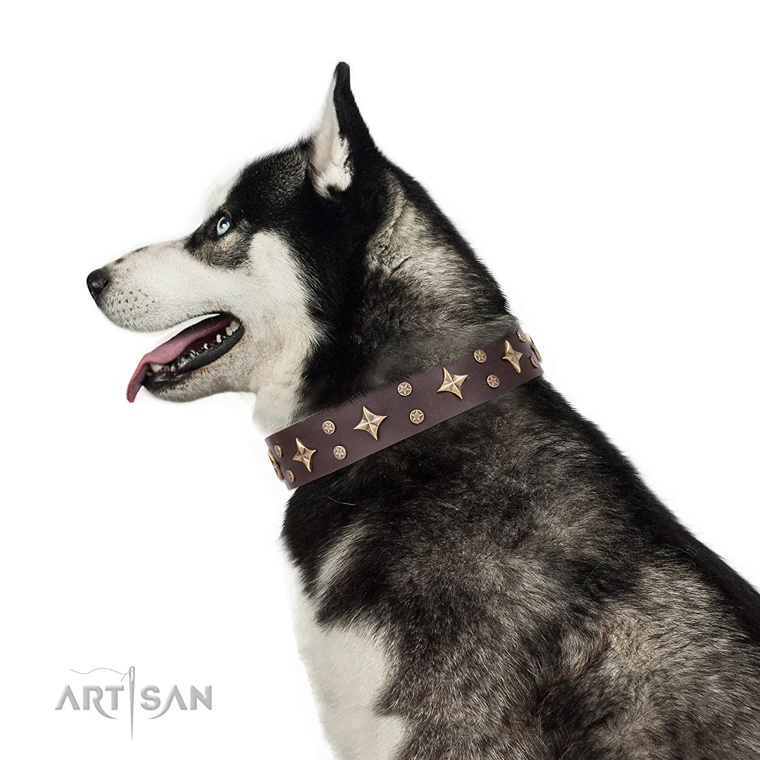 Fits for 23 inch (58cm) dog's neck size FDT Artisan 23 inch Brown Leather Dog Collar with Brass Plated Decorations  High Fashion  1 1 2 inch (40 mm) wide