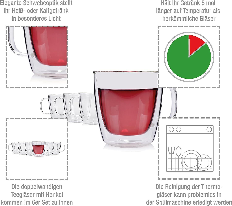 acqua S/änger con manico ideali per bevande calde o fredde come t/è set di bicchieri da t/è t/è freddo vetro termico a doppia parete con effetto levitazione cola e cocktail 6 pezzi succhi di frutta da 250 ml