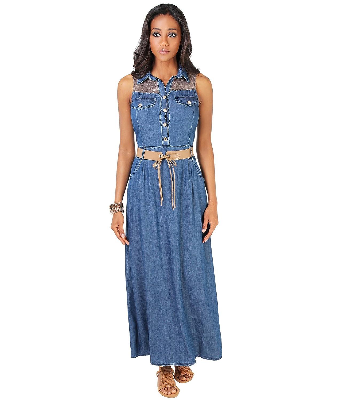 KRISP Damen Langes Jeanskleid mit Pailletten inkl Gürtel