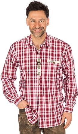 OS-Trachten German Traditional Shirt Long Sleeve Berni red