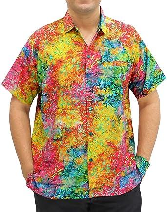 "e771c5ce LA LEELA Likre Men's Hawaiian Shirt Multi 204 X-Small   Chest 36"" -"