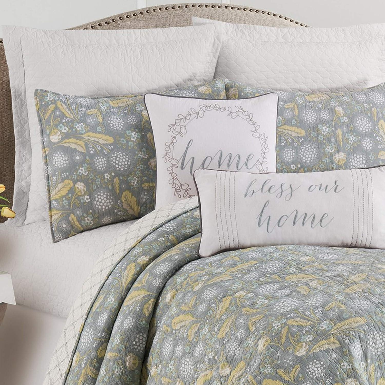 C&F Home Dandelion Court Floral Flower Leaves Full/Queen Machine Washable Reversible Queen Cotton Quilt Set Full/Queen 3 Piece Set Blue