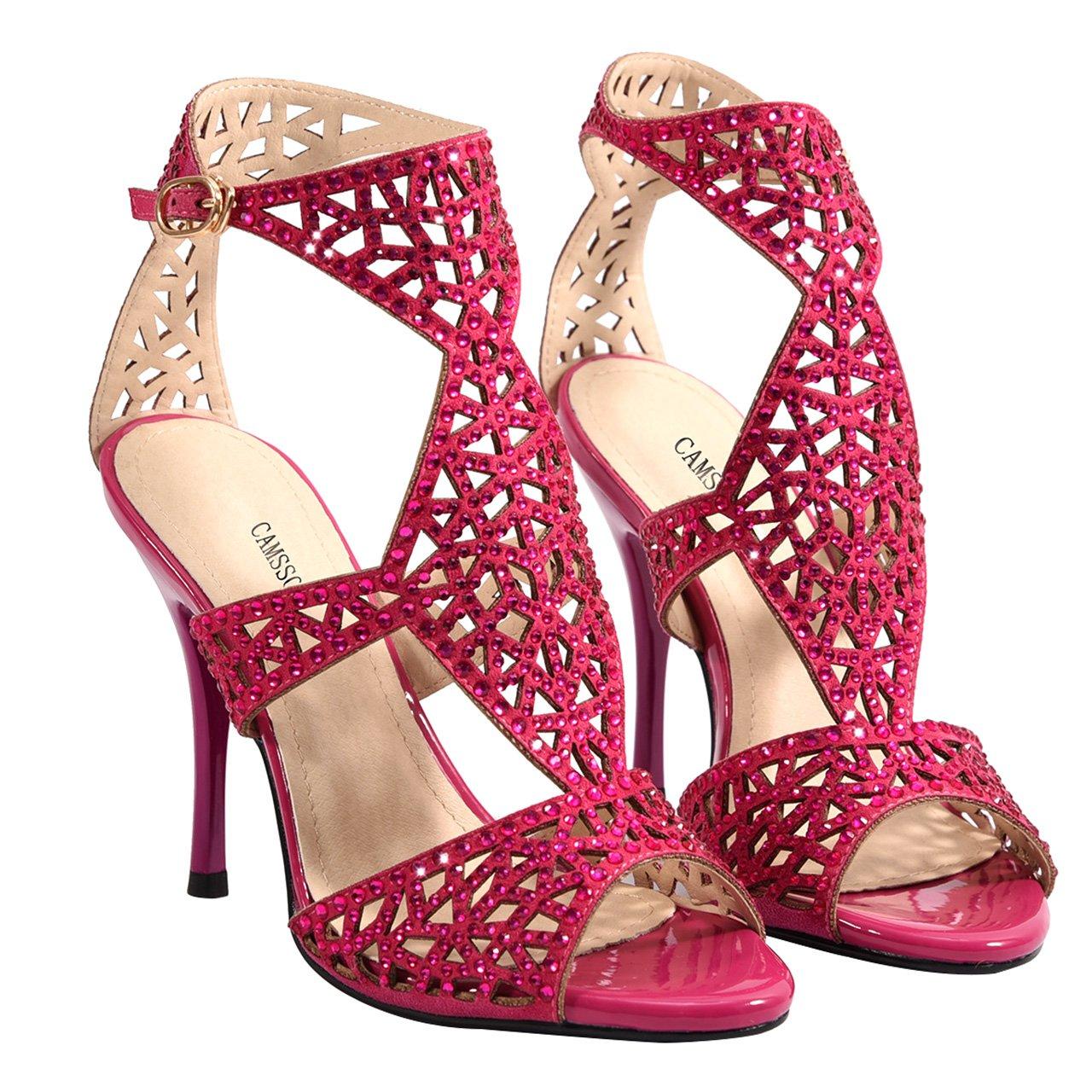 CAMSSOO de Sandalias de tacón Toe de mujer con tacón de Rosa aguja ...