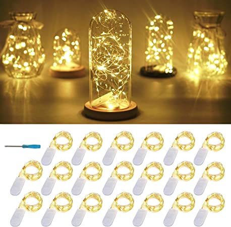 Amazon Com 20 Packs Fairy String Lights 6 6ft 20 Leds Battery Operated Silver Copper Wire Starry String Light For Diy Party Christmas Costume Wedding Easter Table Decorations Warm White Home Improvement