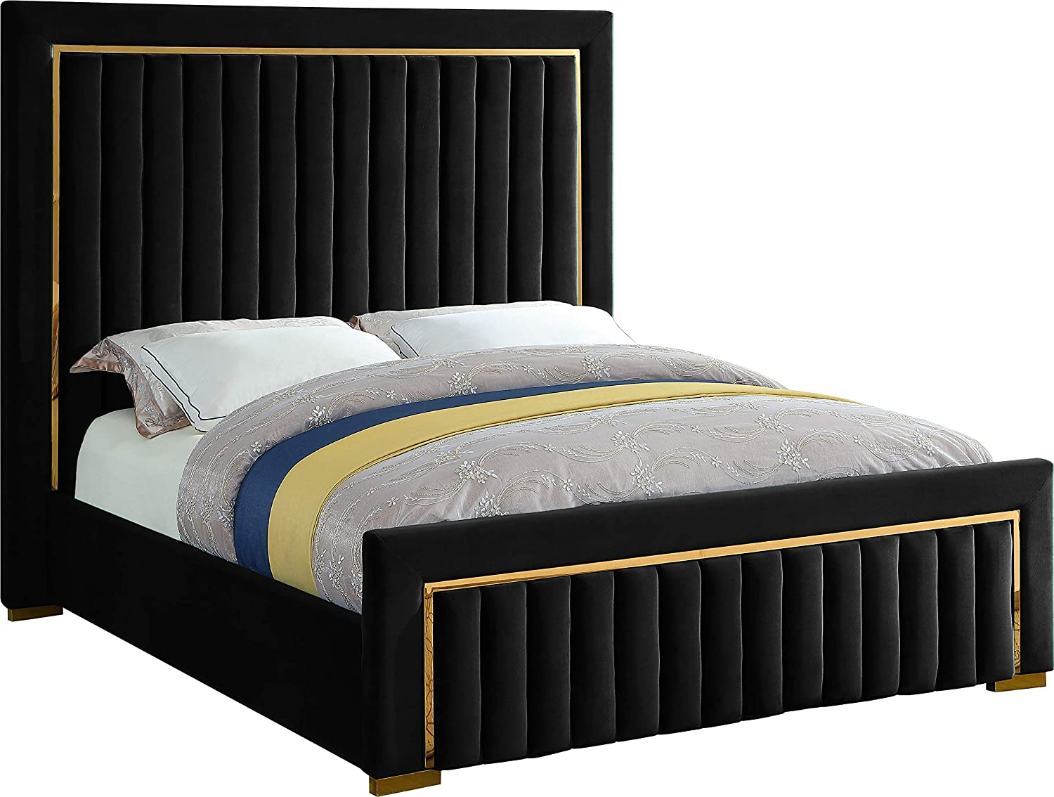 Meridian Furniture Dolce Collection Modern | Contemporary Velvet Upholstered Bed with Luxurious Channel Tufting and Gold Metal Trim/Legs, Queen, Black