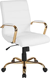 Flash Furniture Mid-Back White Leather Executive Swivel Office Chair with Gold Frame and Arms