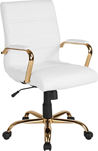 Flash Furniture Mid-Back White Leather Executive Swivel Office Chair with Gold Frame and Arms – GO-2286M-WH-GLD-GG