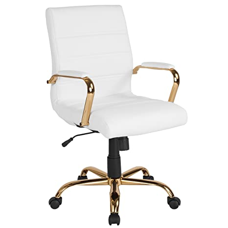 Incredible Flash Furniture Mid Back White Leather Executive Swivel Office Chair With Gold Frame And Arms Go 2286M Wh Gld Gg Squirreltailoven Fun Painted Chair Ideas Images Squirreltailovenorg