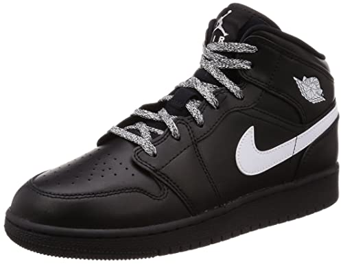 ae39b2e69610 Image Unavailable. Image not available for. Color  Nike Jordan Youth Air  Jordan 1 Mid Black White Leather Trainers ...