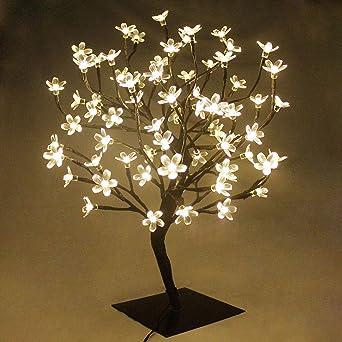 60cm Led Cherry Blossom Bonsai Stylt Tree Lamp With 90 Led Warm White Fairy Lights Stable Square Metal Base Christmas Xmas Tree Light Amazon Co Uk Lighting