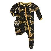 Kickee Pants Little Boys Print Footie with Zipper - Zebra Tiger, 3-6 Months