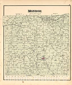 Historic 1875 Map - Caldwell's Atlas of Holmes Co, Ohio - Monroe - Caldwell's Atlas of Holmes County, Ohio 44in x 52in