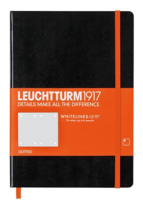Leuchtturm Whitelines Link Medium Dotted Notebook [Black with Orange]