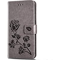 Case for iPhone 7 Plus/iPhone 8 Plus Flip Case Slim PU Leather Wallet Case Rose Embossing Shockproof Folding Stand Cover with Credit Card Holder [Magnetic closure] for iPhone 7/8 Plus,Gray
