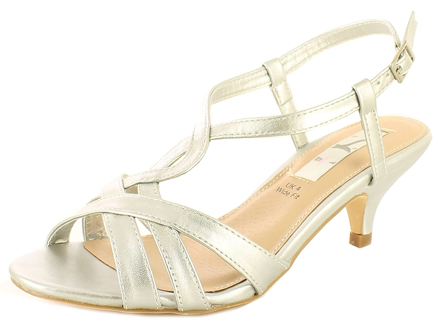1b7c26a79a5 New Ladies Silver Wide Fitting Evening Occasion Wedding Shoes Sandals -  Silver - UK Size 7  Amazon.co.uk  Shoes   Bags